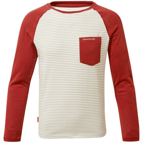 Craghoppers NosiLife Lorenzo Long Sleeved T-Shirt Gutter soft grey marl stripe/fire red